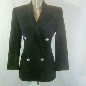 Designer Black Blazer w/Faux Gem Buttons Size 4